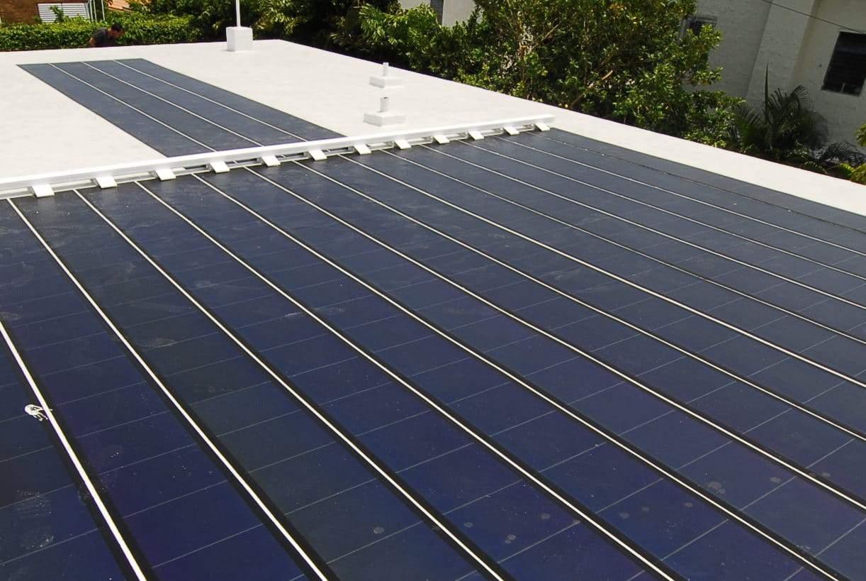 Photo of thin film solar panels