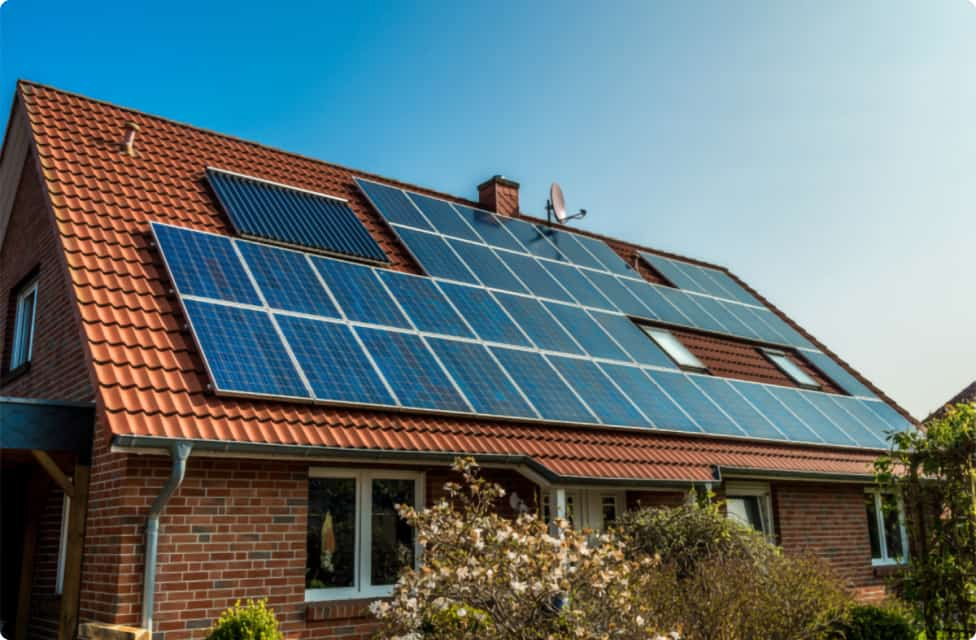 photo of solar panels on a residential home