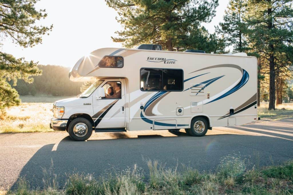 photo of an RV with solar panels